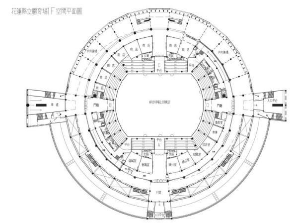 花蓮縣立體育場1F空間平面圖